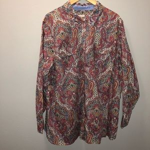 Talbots paisley button down